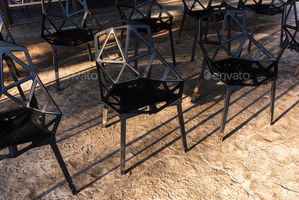 Group of black metal chairs - Stock Photo - Images