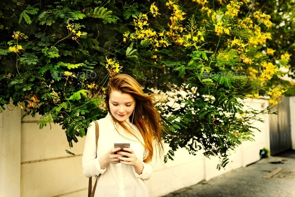 Casual Cheerful Girl Alone Outdoor Recreation Concept - Stock Photo - Images