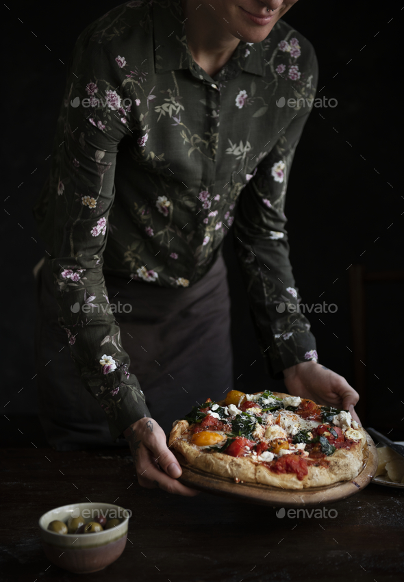 Serving pizza food photography recipe idea - Stock Photo - Images