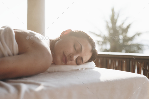 Woman relaxing with a spa treatment - Stock Photo - Images