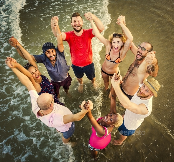 Group of diverse friends are gathering together - Stock Photo - Images