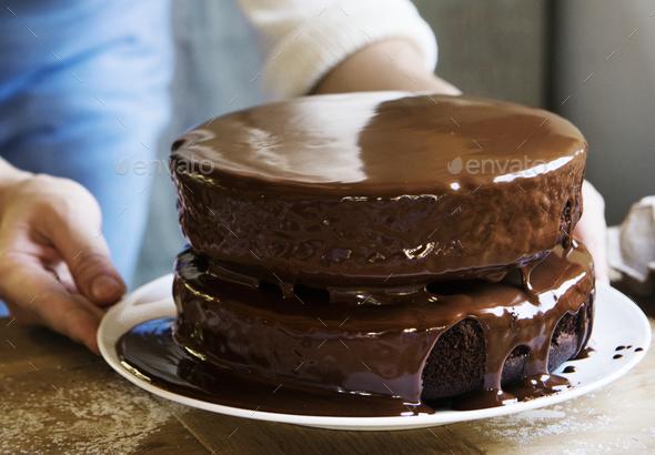 Chocolate fudge cake photography recipe idea - Stock Photo - Images