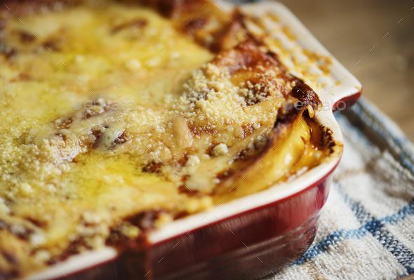 Homemade lasagna food photography recipe idea - Stock Photo - Images