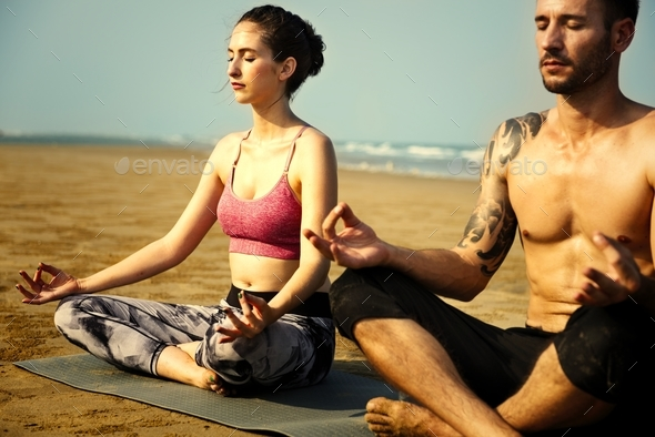 Young Woman Man Yoga Concept - Stock Photo - Images