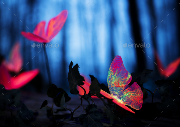 Glowing insects in the night forest - Stock Photo - Images