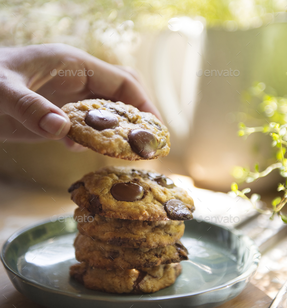 Chocolate chip cookies food photography recipe idea - Stock Photo - Images