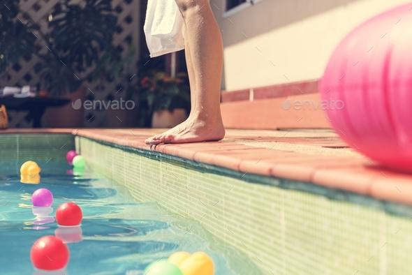 Girl enjoying summertime vacation - Stock Photo - Images