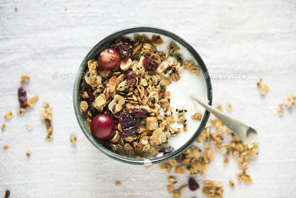 Healthy granola food photography recipe idea - Stock Photo - Images