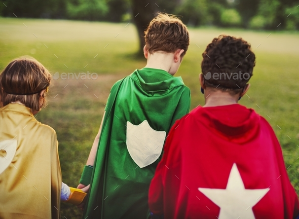 Superhero kids with superpowers - Stock Photo - Images