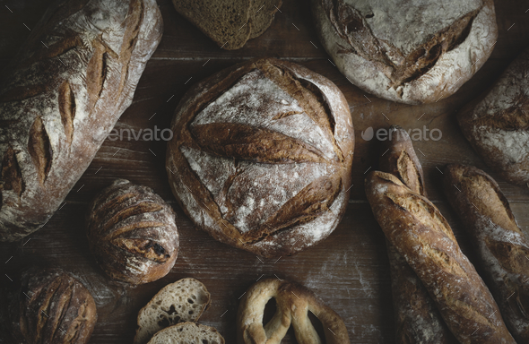 Homemade sourdough bread food photography recipe idea - Stock Photo - Images