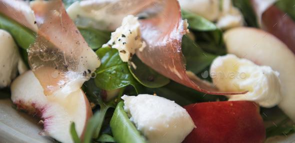Salad with parma ham food photography recipe idea - Stock Photo - Images