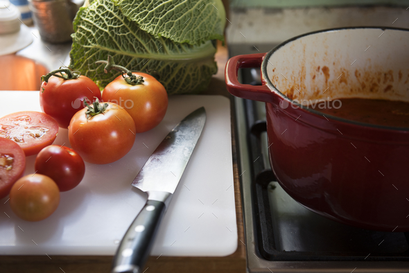 Tomato sauce food photography recipe idea - Stock Photo - Images