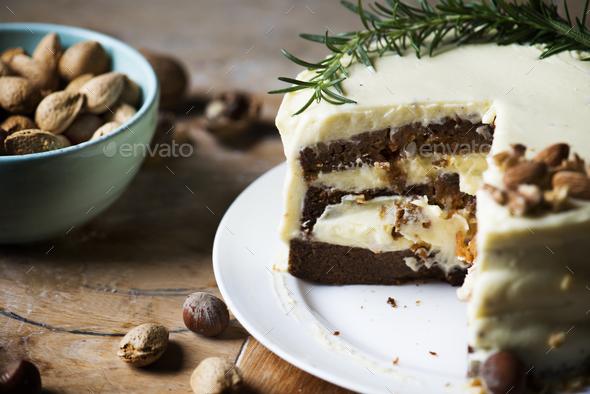 Homemade carrot cake food photography recipe idea - Stock Photo - Images
