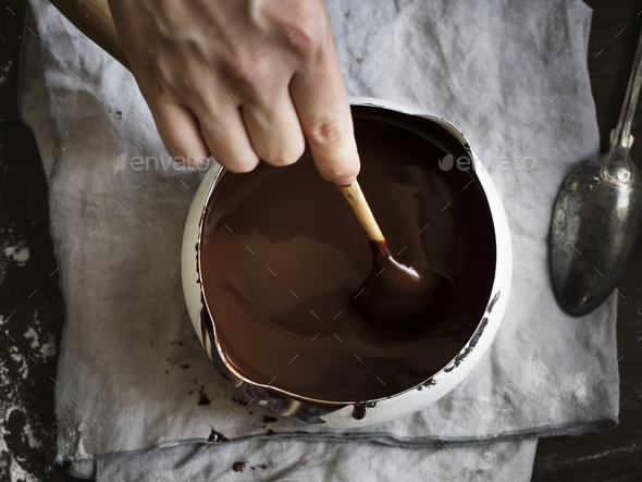 Dark chocolate sauce food photography recipe idea - Stock Photo - Images