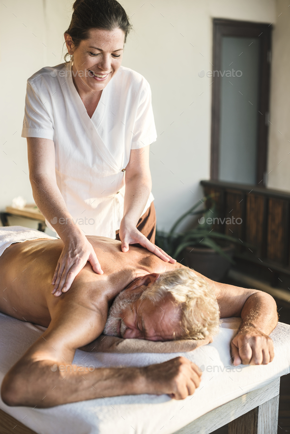 A senior having a massage - Stock Photo - Images