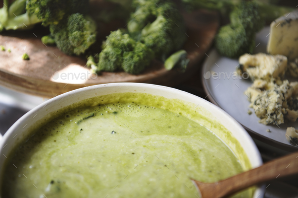Broccoli soup food photography recipe idea - Stock Photo - Images