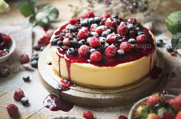 Fresh berry cheescake food photography recipe idea - Stock Photo - Images