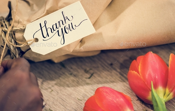Closeup of thank you flower bouquet - Stock Photo - Images