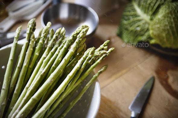 Fresh Asparagus food photography recipe idea - Stock Photo - Images