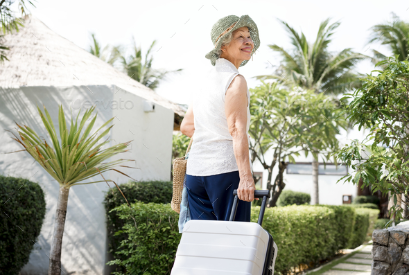 Senior woman on vacation - Stock Photo - Images