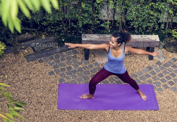 Healthy woman doing yoga - Stock Photo - Images