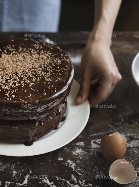 Chocolate cake food photography recipe idea - Stock Photo - Images