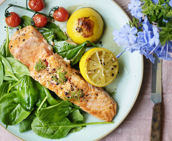 Grilled salmon food photography recipe idea - Stock Photo - Images