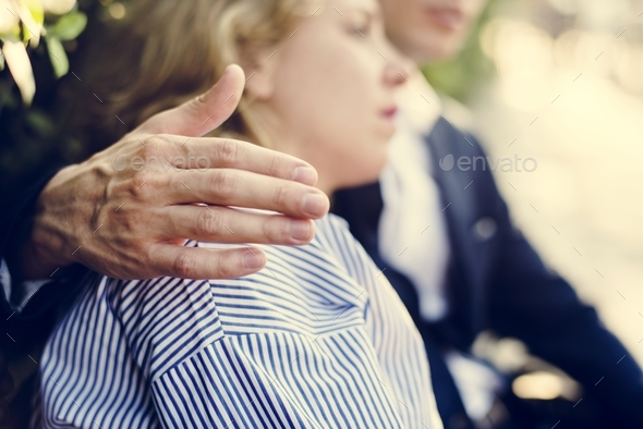 Man consoling an upset girlfriend - Stock Photo - Images