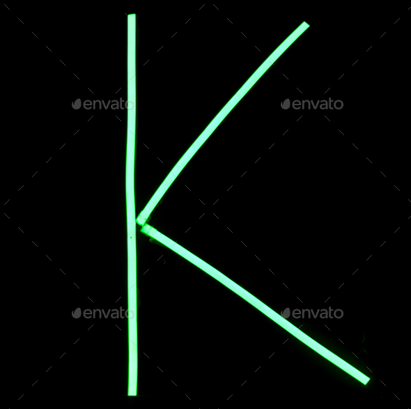 Green neon lights alphabet letters - Stock Photo - Images