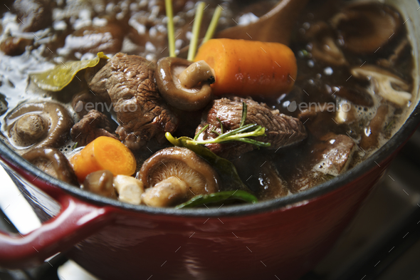 Homemade beef stew food photography recipe idea - Stock Photo - Images