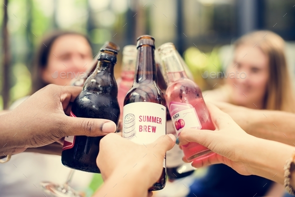 Group friends having fun and  toasting together - Stock Photo - Images