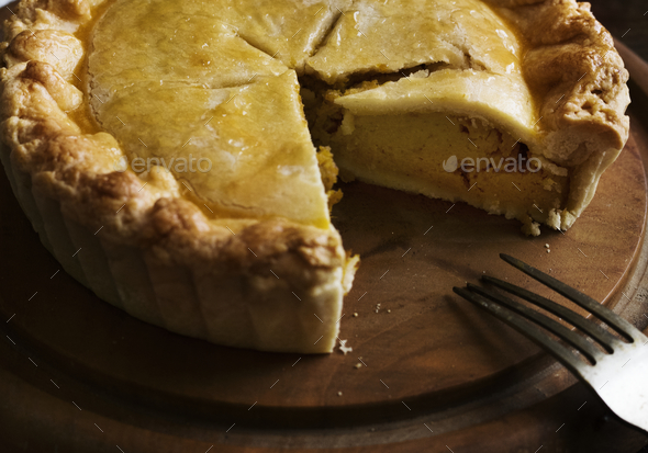 Pumpkin pie food photography recipe idea - Stock Photo - Images