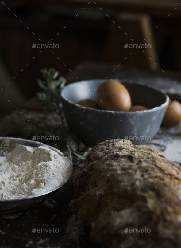 Homemade bread food photography recipe idea - Stock Photo - Images