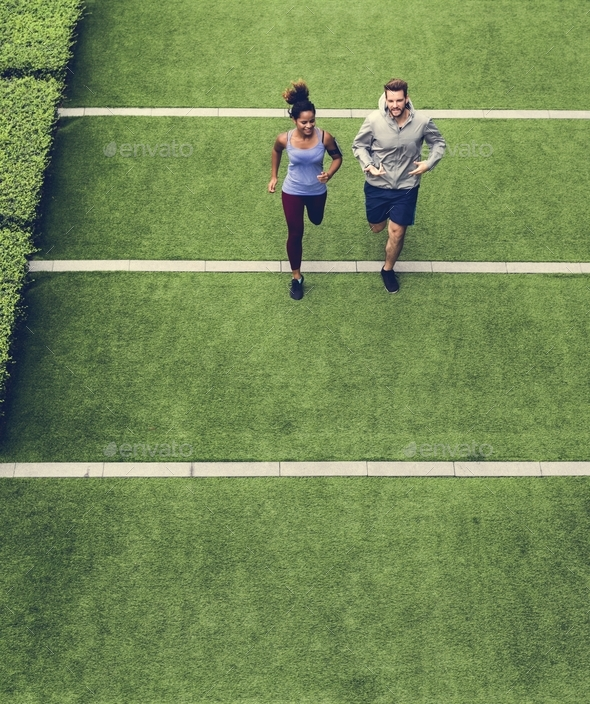 Couple working out together - Stock Photo - Images