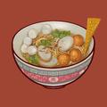 Nooodle soup with fish balls illustration - PhotoDune Item for Sale