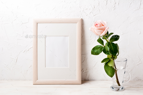 Wooden frame mockup with pink rose - Stock Photo - Images