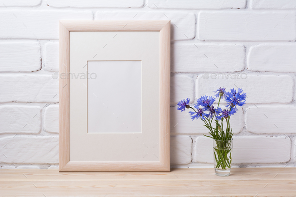 Wooden frame mockup with cornflower - Stock Photo - Images