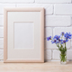 Wooden frame mockup with cornflower - PhotoDune Item for Sale
