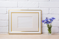 Gold decorated frame mockup with cornflower - PhotoDune Item for Sale