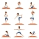 Set with Young Girl in Different Poses of Yoga - GraphicRiver Item for Sale