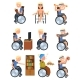 Disabled Man in Wheelchair in Different Situations - GraphicRiver Item for Sale