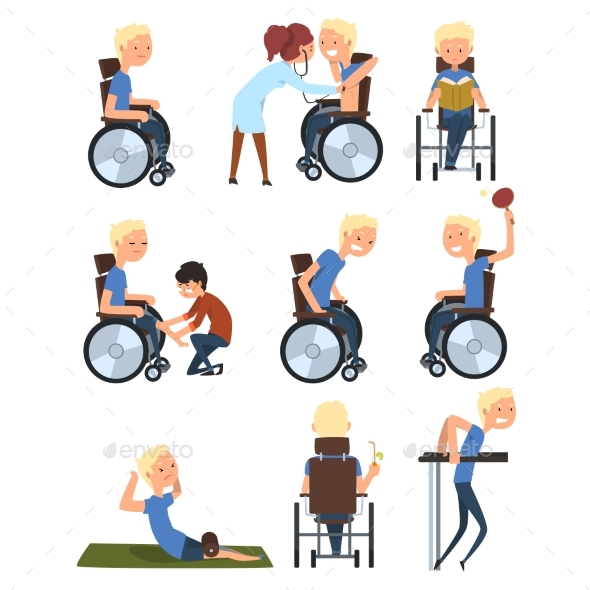 Man in Wheelchair in Different Situations Set - Health/Medicine Conceptual