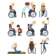 Man in Wheelchair in Different Situations Set - GraphicRiver Item for Sale