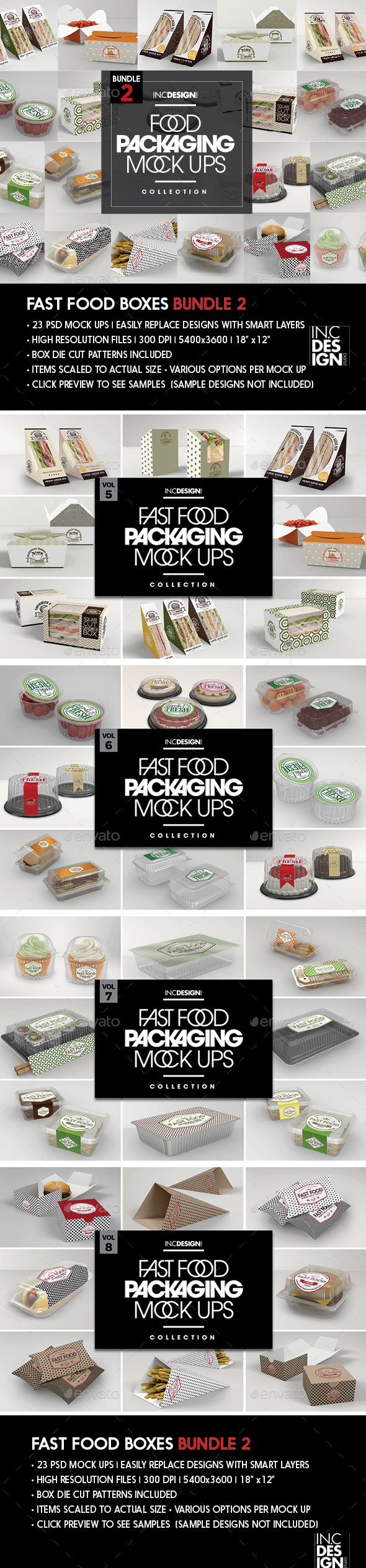 Fast Food Boxes Mock Up Bundle 2 - Food and Drink Packaging