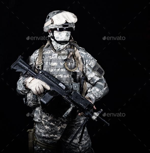 United States marines machine gunner studio shot - Stock Photo - Images