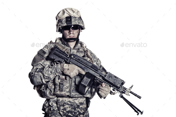 Marines corps fighter with machine gun studio shot - Stock Photo - Images