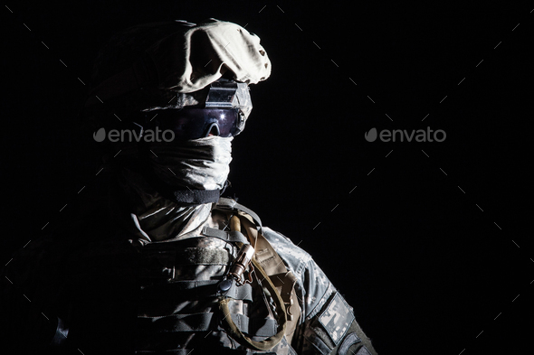 Close up portrait of modern hybrid war combatant - Stock Photo - Images