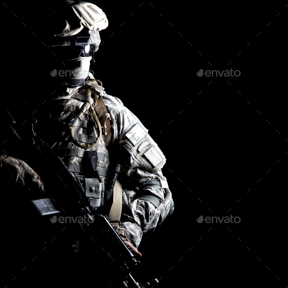Army ranger high contract portrait on black - Stock Photo - Images