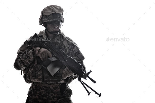 US Army Marines Corps shooter with machine gun - Stock Photo - Images