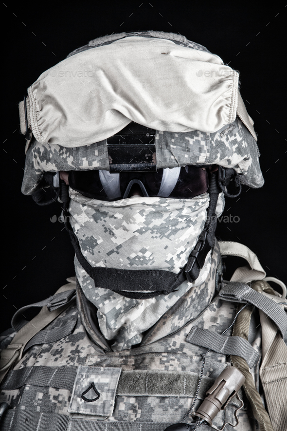 US Marine Corps soldier close up portrait on black - Stock Photo - Images